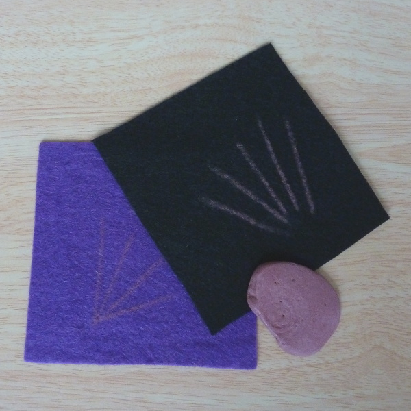 Purple and black felt with Tailor's chalk