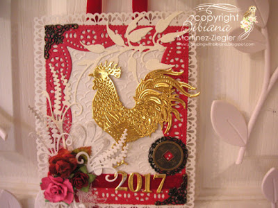 year of the rooster card front door detail