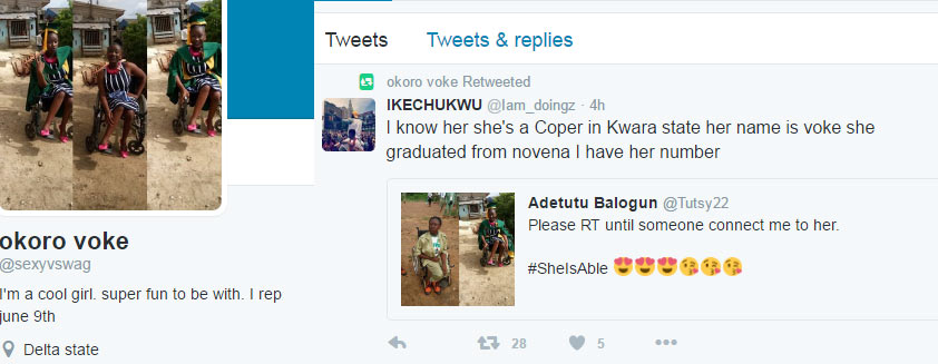 Twitter user Adetutu Balogun is searching for this lady