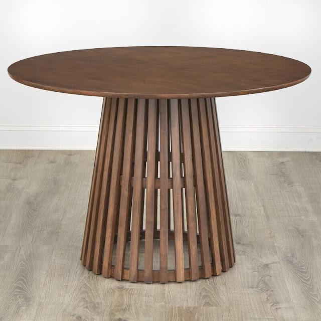 Parisi George Oliver solid wood round slat pedestal base dining table