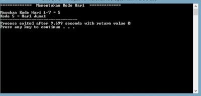 Contoh Program C++ Singkat Menentukan Nama Hari di Dev-C++