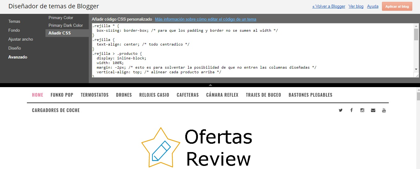 css para tsa blogger