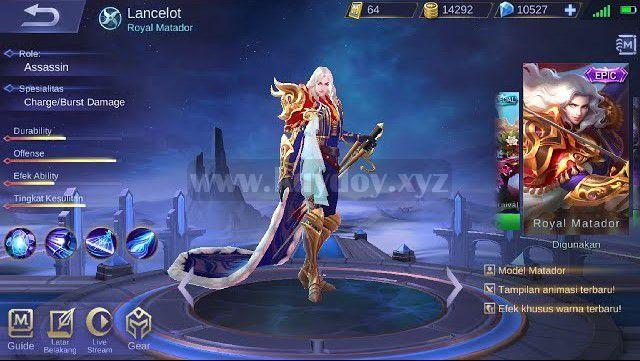Script Skin Epic Lancelot Royal Matador Mobile Legends