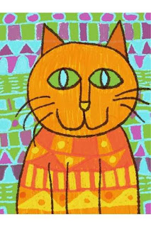 child drawing of a patterned cat and background