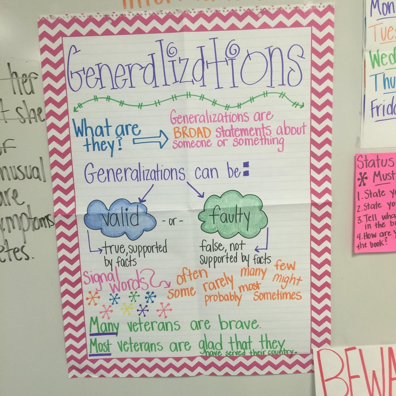 Life in Fifth Grade: Teaching Generalizations [ 1600 x 1600 Pixel ]