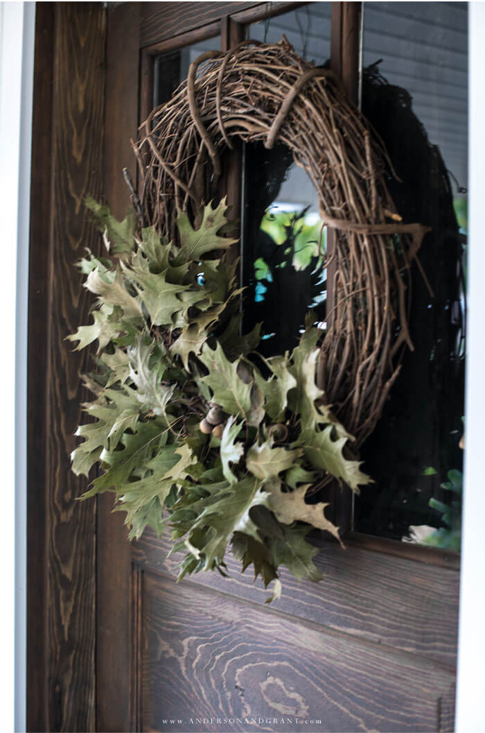 Look no further for inspiration for this year's fall wreath - this one is so easy and made out of leaves gathered from outside!