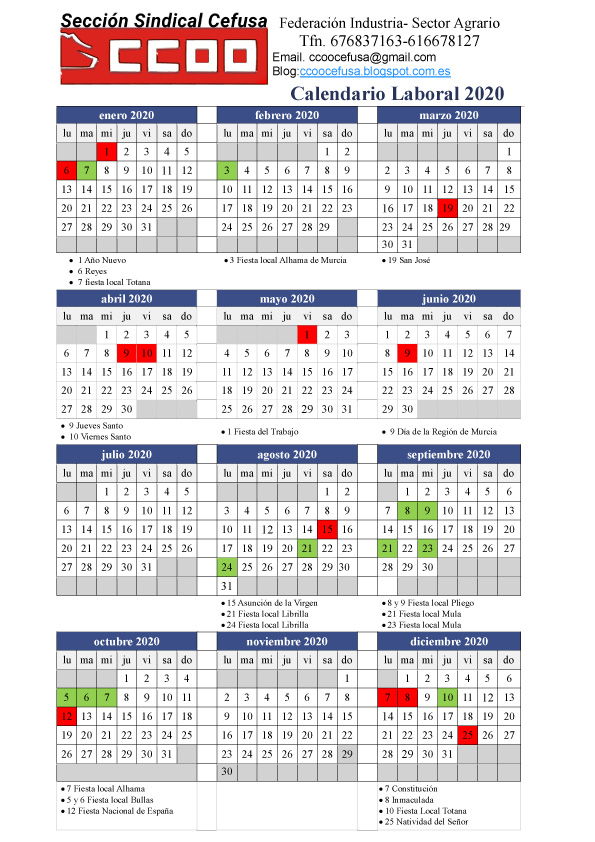 Calendario Laboral 2020 Murcia.Ccoo Cefusa