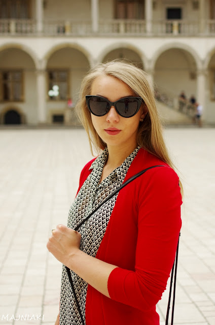 Geometric patterned shirt with red