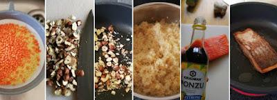 Zubereitung Lachsforelle mit Hirse-Linsen und Gurken-Curry