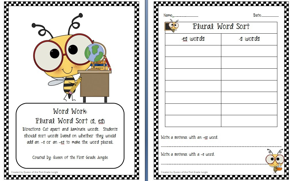 Adding -s or -es *Freebie* - Queen of the First Grade Jungle