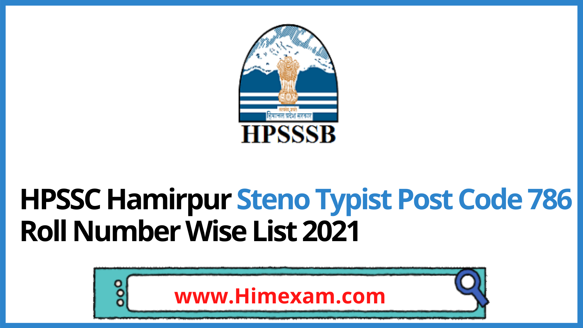 HPSSC Hamirpur Steno Typist Post Code 786 Roll Number Wise List 2021