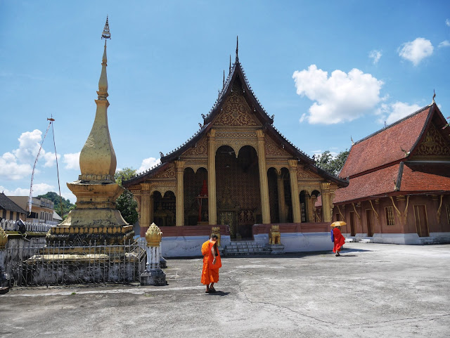 Buddhist monks at a temple in Luang Prabang, Laos