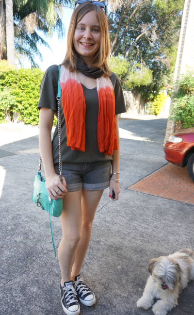 Ombre orange scarf kahki green tee denim shorts converse RM mini MAC