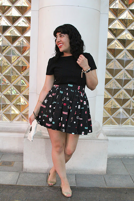 Kate Spade Broome Street Black T Shirt and Vegas Print Skirt Outfit | Will Bake for Shoes