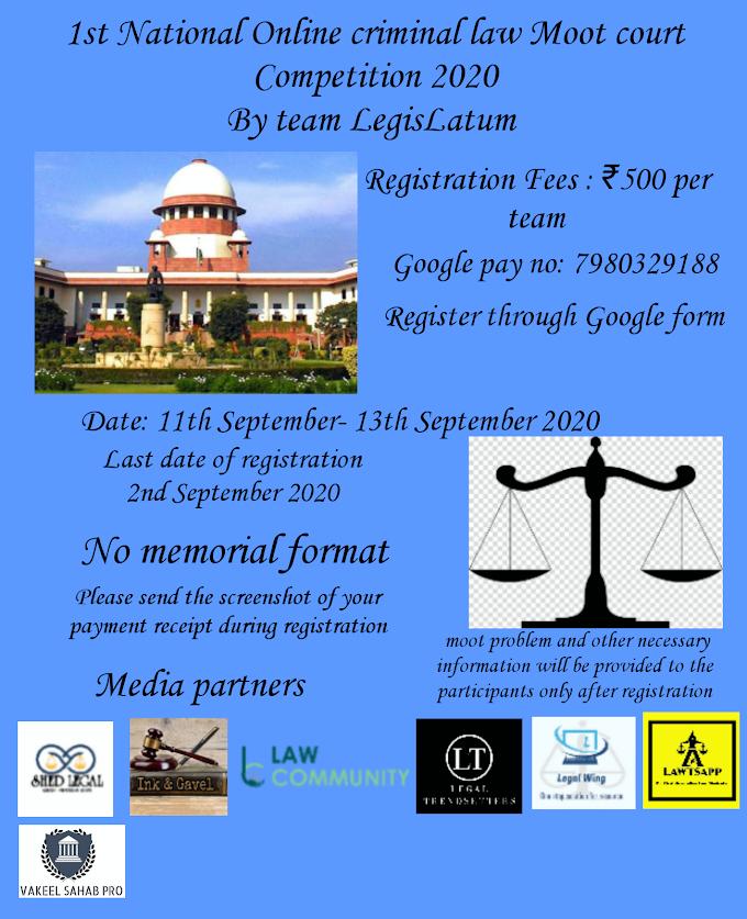 1 st National Online Criminal Law Moot Court Competition 2020  By Team Legislatum