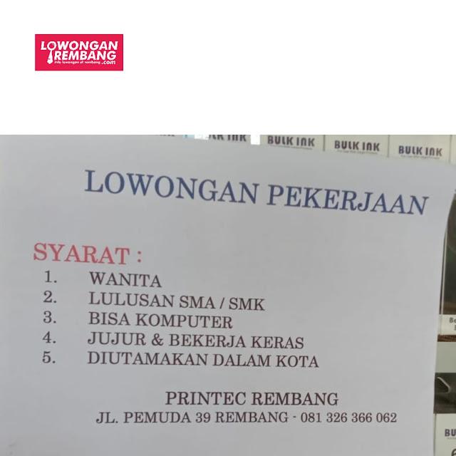Lowongan Kerja Karyawati Printec Rembang
