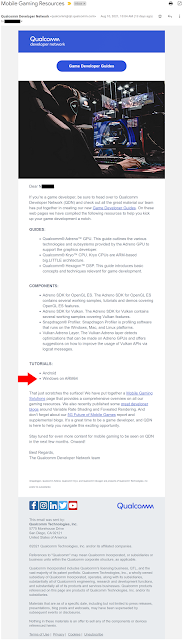 Full email from Qualcomm with a blue button at the top labeled Game Developer Guides. I have added a red arrow further down that points to a mention of Windows on ARM64 as one of the tutorials.