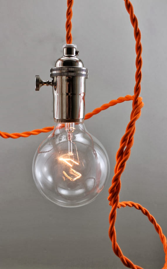 Bare Bulb Hanging Pendant Lights 2 Mod Orange Bare Bulb Pendant, $75