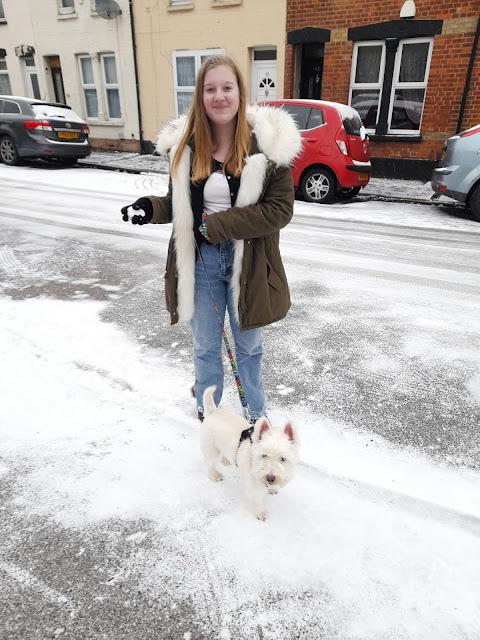 Midge, a white 13 year old female is wearing a long green coat, white top and black cardigan with blue jeans. She is on a pavement of snow holding Sam, a white Westie