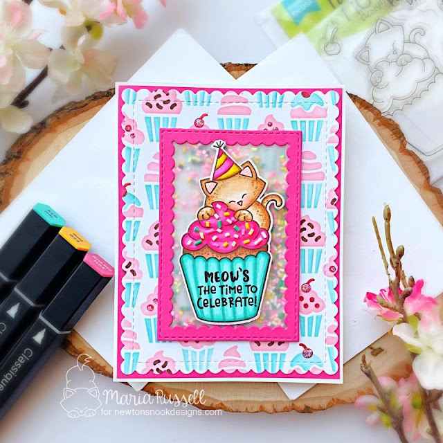 Birthday Cat and Cupcake Card by Maria Russell | Newton's Cupcake Stamp Set, Cupcakes Stencil Set, Framework Die Set, and Frames & Flags Die Set by Newton's Nook Designs #newtonsnook #handmade