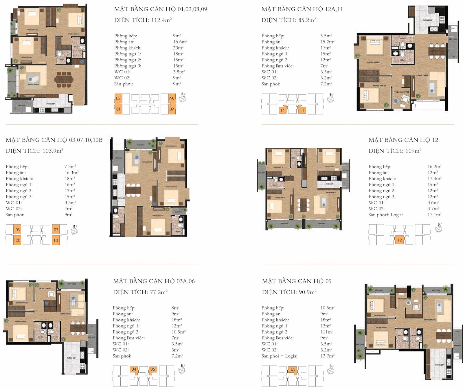Thiết kế chi tiết các căn hộ chung cư One 18