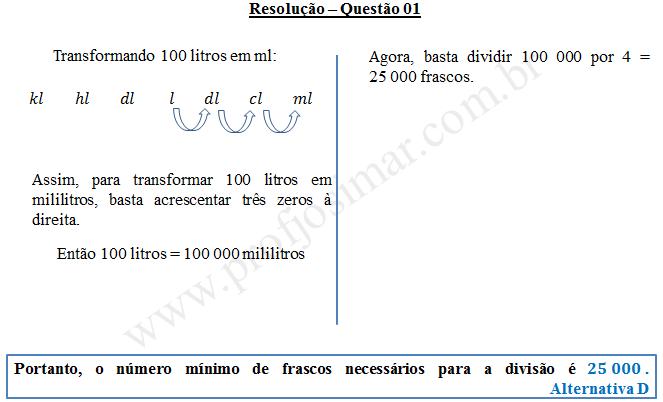 Questão 01 - Sistema de medidas usuais
