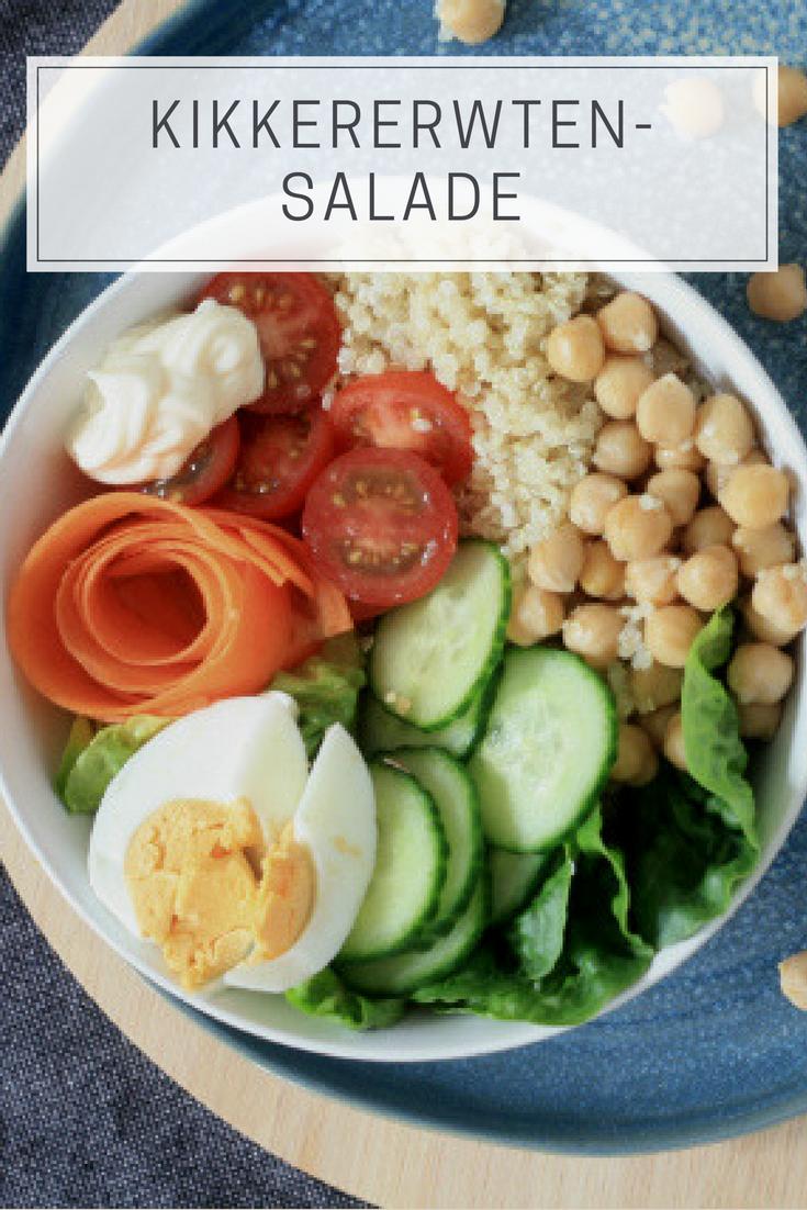 Kikkererwtensalade, een heerlijke lunch die je gemakkelijk een dag op voorhand kan preppen om mee te nemen naar je werk - a floral sunset
