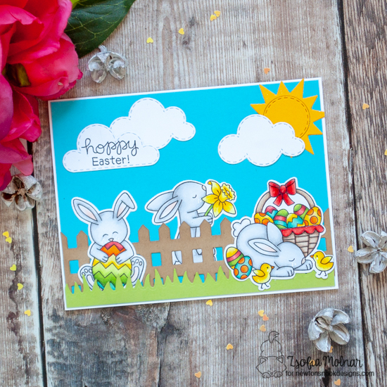 Hoppy Easter Card by Zsofia Molnar | Hop Into Spring Stamp Set, Sky Scene Builder Die Set, Land borders die set by Newton's Nook Designs #newtonsnook #handmade