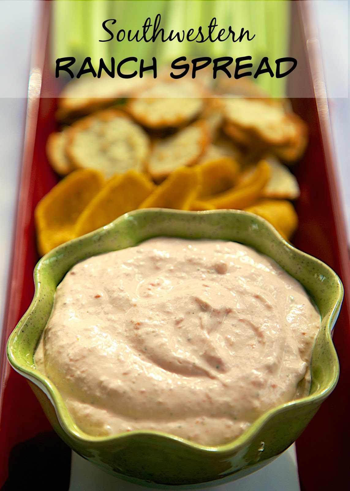 Southwestern Ranch Spread - quick dip for chips or veggies - cream cheese, sour cream, ranch and Rotel. Can make ahead of time and refrigerate for later. Great as a dip or topping for a baked potato. We LOVE this easy Mexican dip recipe!
