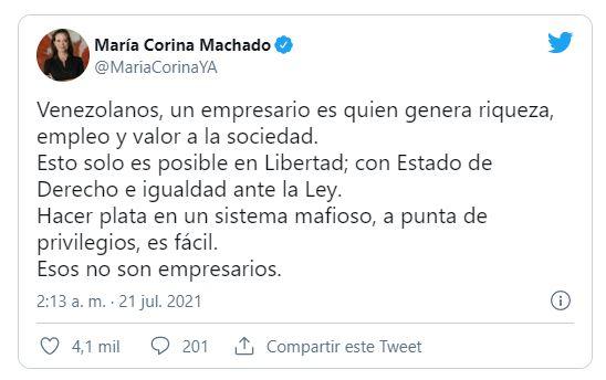 María Corina Machado l dio hasta con el tobo a FEDECÁMARAS por venderse al régimen