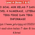 93 Soal AKM Kelas 7 dan 8 Level 4 Numerasi, Literasi Teks Fiksi dan Teks Informasi
