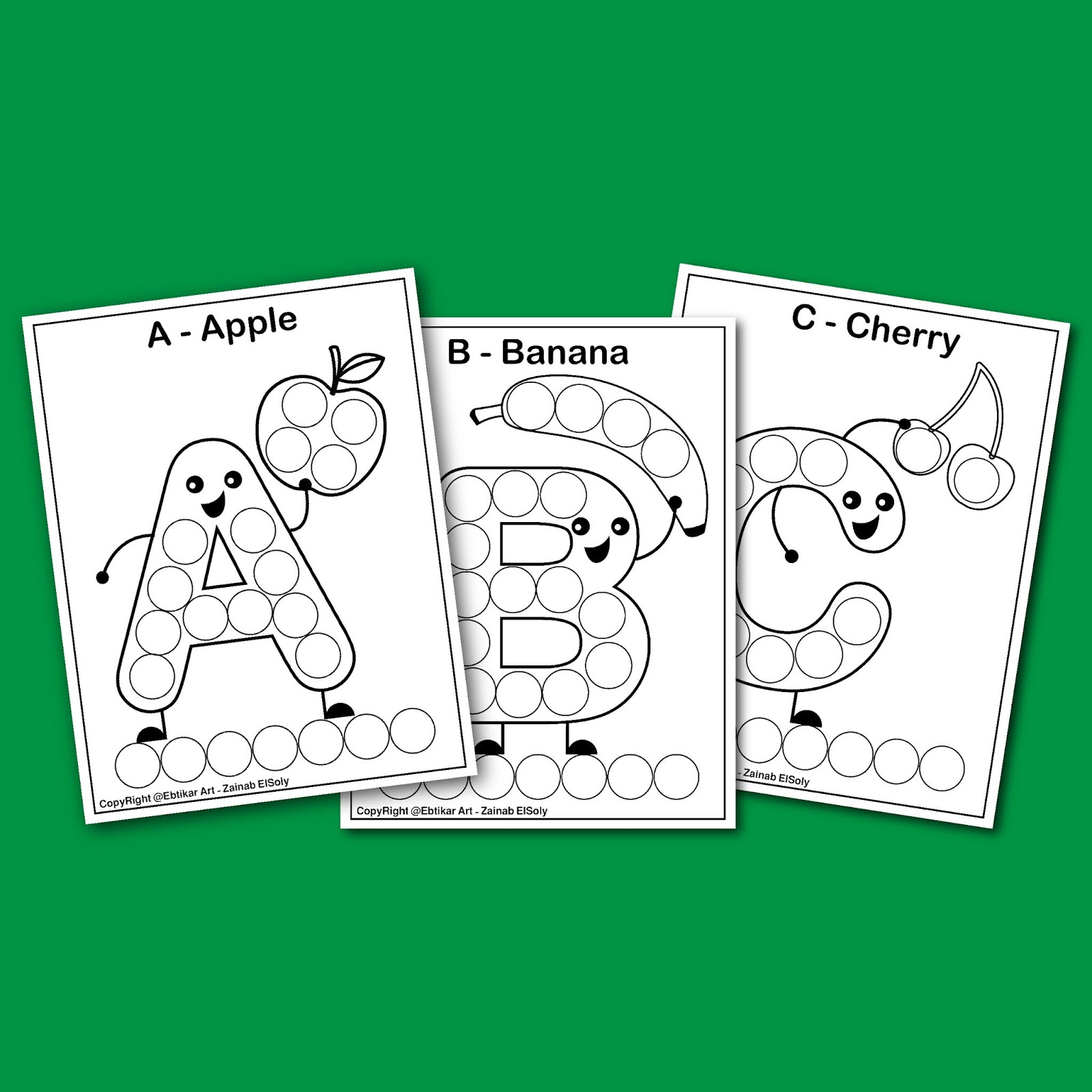 ABC For Dot Marker Coloring Pages