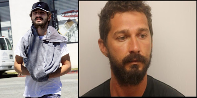 Shia Labeouf picture posted in social Media Vs his picture from police station in Savannah, Georgia