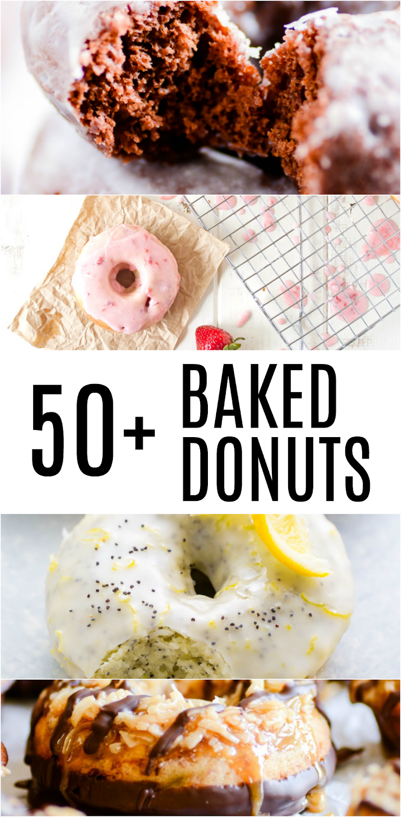More than 50 recipes for baked donuts including Lemon Poppyseed Donuts, S'mores Donuts, and Churro Donuts!