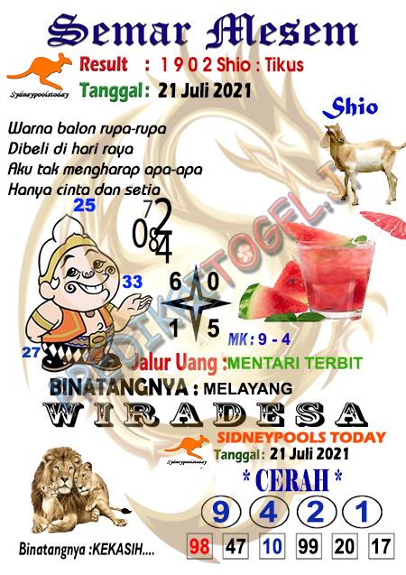 Syair Semar Mesem SDY Rabu 21 Juli 2021