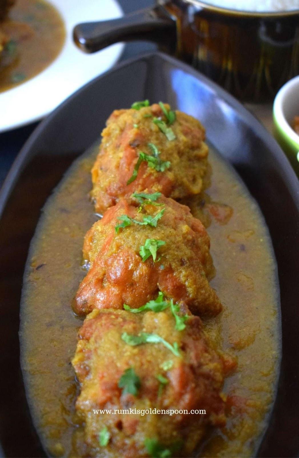 Indian Recipe, Vegan Recipe, Veg Recipe, Onion Bhaji Curry | Gram Flour-Onion Fritters Curry, Pakoda Curry, Onion Bhaji recipe, Besaner Borar Jhol/dalna/torkari/torkaari/sabji/sabzi/tarkari/rasha, Peyaji diye Sabzi,  pakora, Indian fritters spicy curry, Gram flour-onion dumpling masala curry, recipe with Besan-Peyaj Ke Pakode/ Gram flour-onion dumpling, recipe with bora, Rumki's Golden Spoon