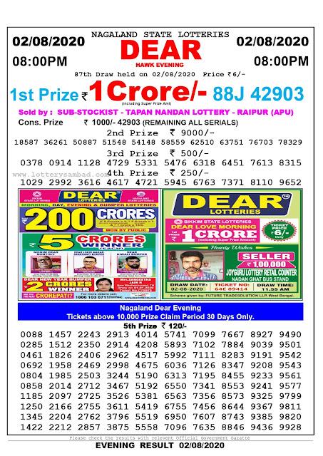 Lottery Sambad 02-08-2020 Nagaland State Lottery Result 08.00 PM