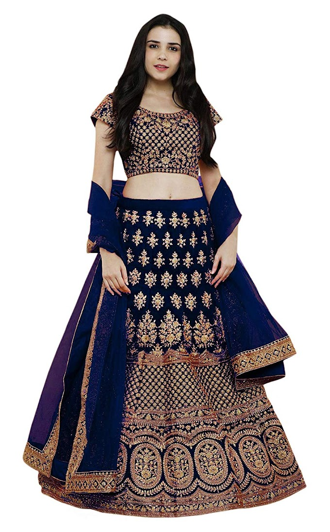 Women's Pure Silk Embroidered Semi stitched Lehenga choli with Dupatta
