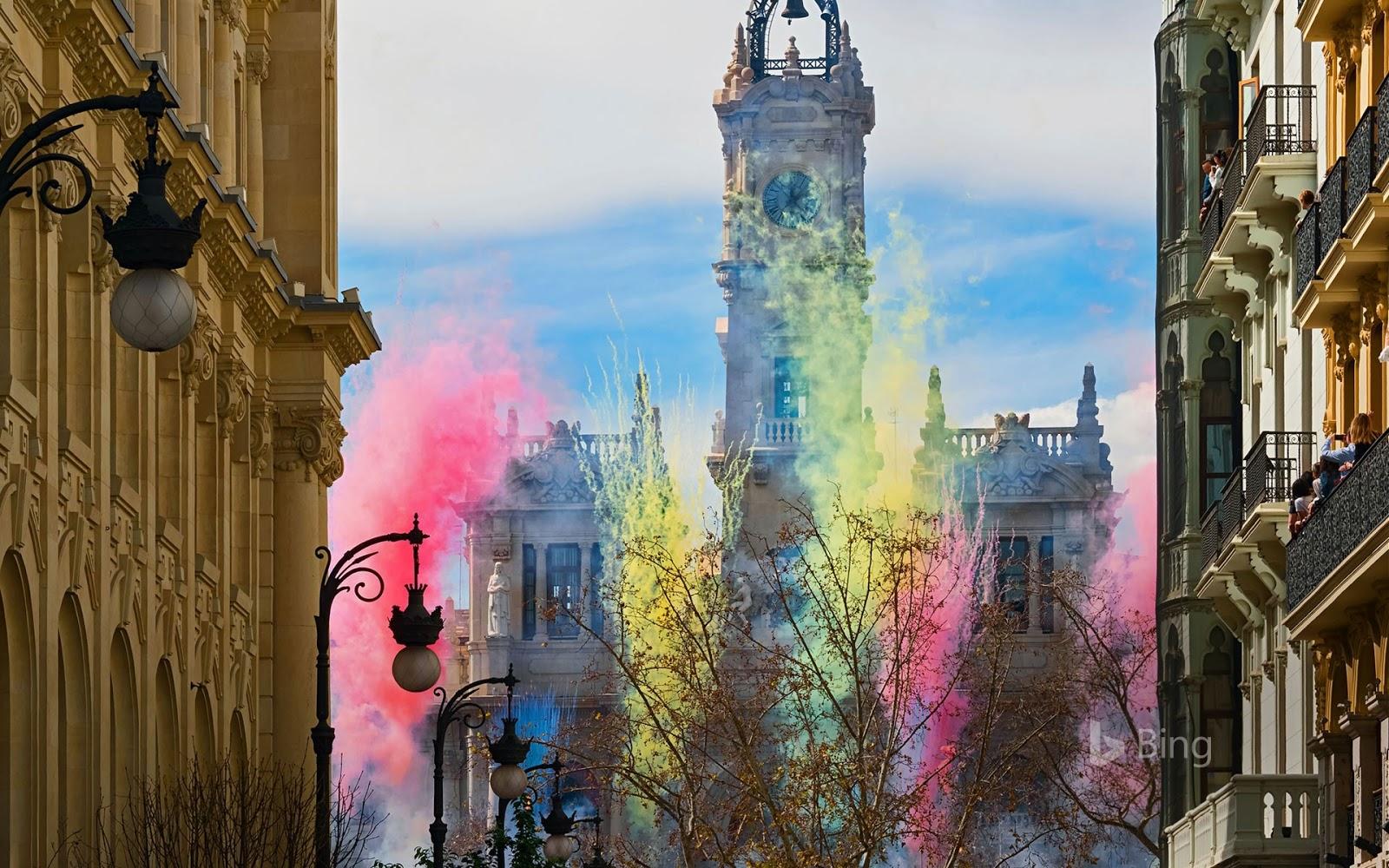 Fireworks at the Plaza del Ayuntamiento for las Fallas festival in Valencia, Spain © Helena G.H/Shutterstock