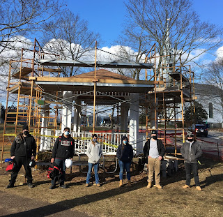 Tri-County RVTHS Carpentry Students Renovating Wrentham Common Gazebo