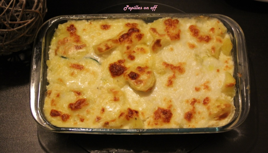 gratin de courgettes et pommes de terre la mozzarella au thermomix ou sans papilles on off. Black Bedroom Furniture Sets. Home Design Ideas