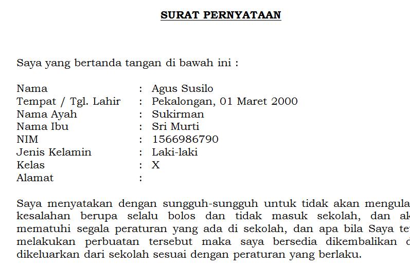 Contoh Surat Pernyataan Tidak Melakukan Pelanggaran Siswa ...
