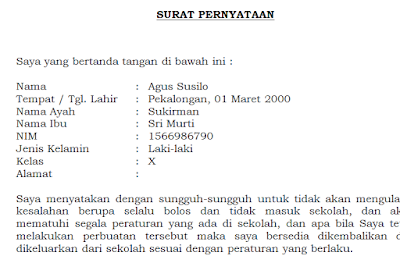 Contoh Surat Pernyataan Tidak Melakukan Pelanggaran Siswa