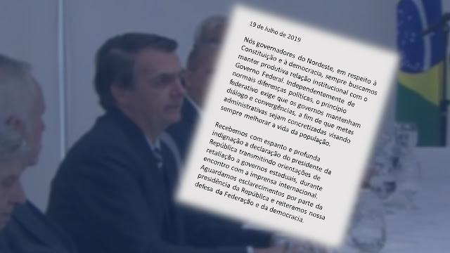 Carta dos Governadores do Nordeste que repúdia a fala do Presidente Bolsonaro