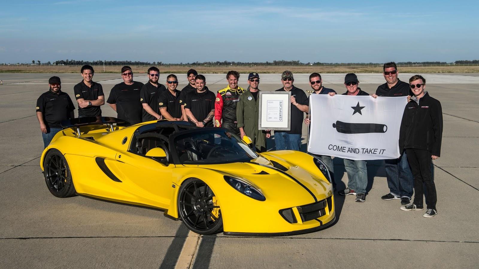Hennessey Venom GT Spyder đã chính thức lập được kỷ lục tốc độ mới
