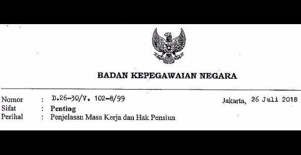 Surat Deputi Bidang Mutasi Kepegawaian BKN No. D.26-30/v. 102-8/99 tentang Penjelasan Masa Kerja dan Pensiun