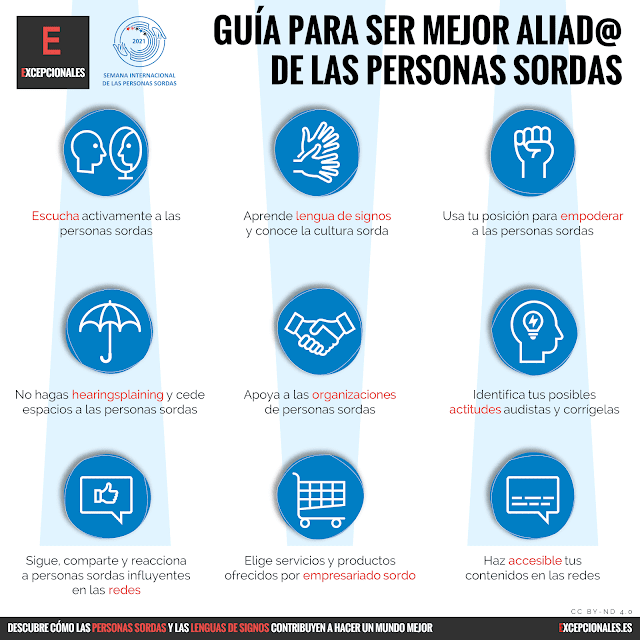 Infografía: guía para ser mejor aliad@ de las personas sordas