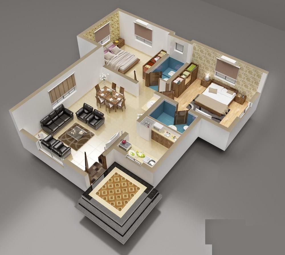 65 Denah 3D Rumah Minimalis Paling Populer