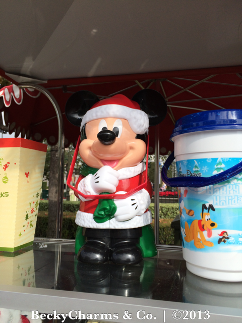 Mickey Mouse Christmas Holiday Season PopCorn Bucket at Disneyland 2013