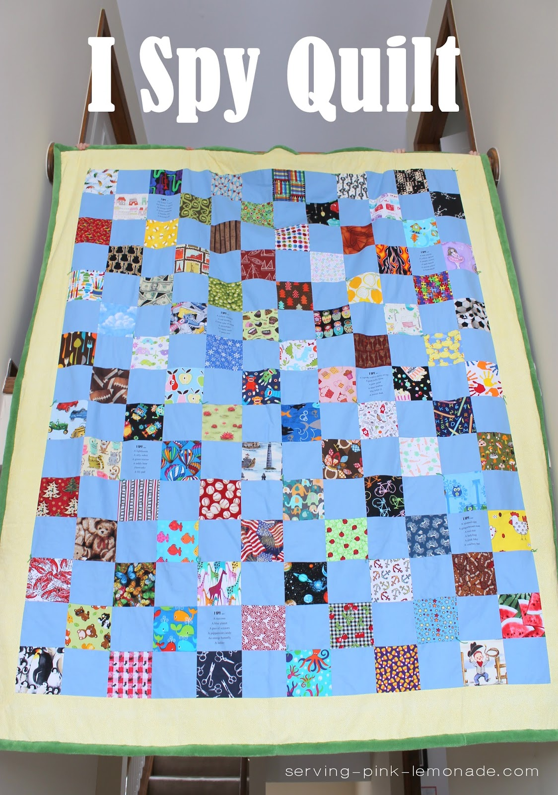 Serving Pink Lemonade I Spy Quilt With Ink Jet Printed